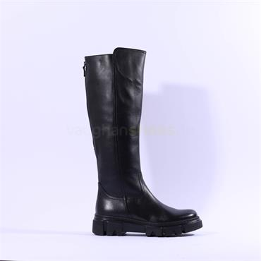 Gabor Juan Rear Zip Combat Knee High - Black Leather