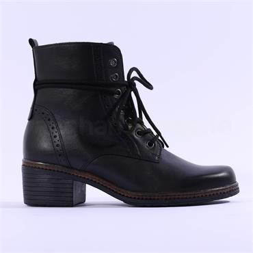 Gabor Soul Blook Heel Rope Detail Boot - Black Leather