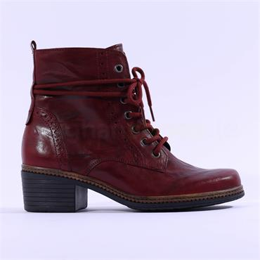 Gabor Soul Block Heel Rope Detail Boot - Red Leather