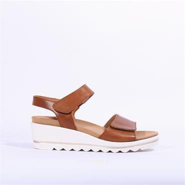 Gabor Wedge Velcro Sandal Jasper - Tan