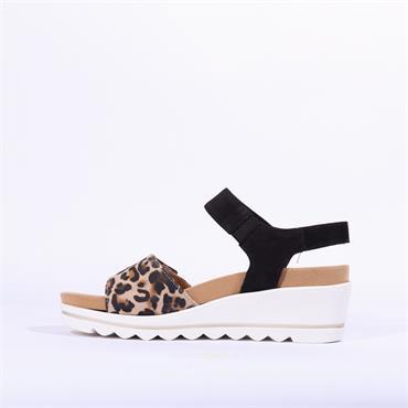 Gabor Wedge Velcro Sandal Jasper - Black Leopard