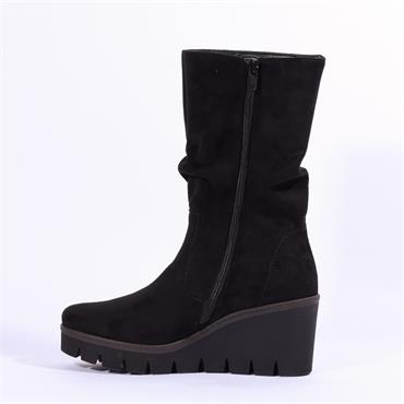 Gabor Ashwell Platform Wedge High Boot - Black Suede