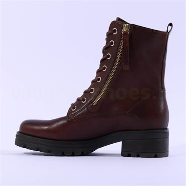 Gabor Countdown Lace Zip Military Boot - Cognac Leather