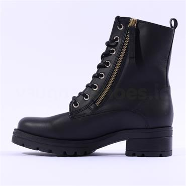 Gabor Countdown Lace Zip Military Boot - Black Gold Leather