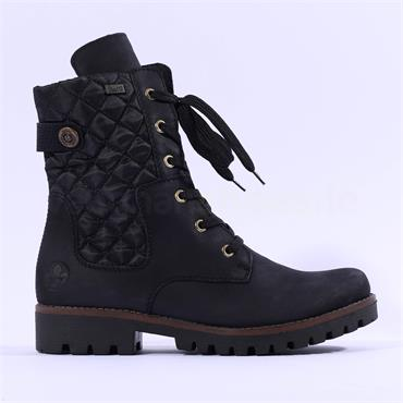 Rieker Stepptex Quilted Laced Boot - Black