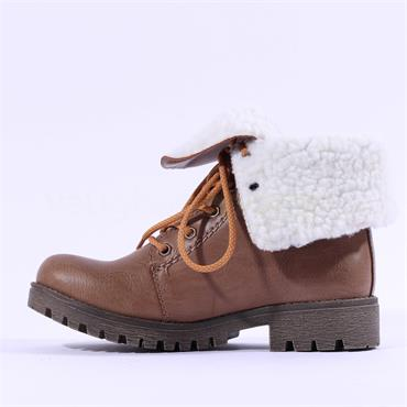 Rieker Fold Top Laced Boot - Toffee
