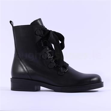 Gabor Thick Lace Military Boot Halkirk - Black Leather