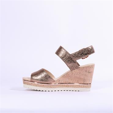 Gabor Wicket Wood Style Wedge Sandal - Rose Gold