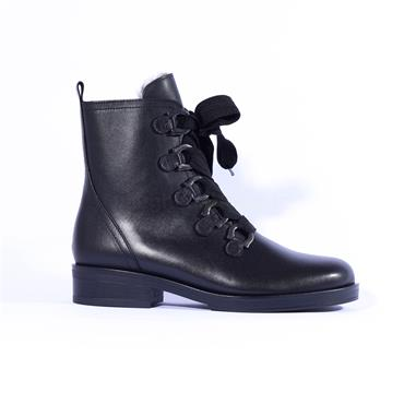 Gabor Wool Lined Thick Lace Boot Halkirk - Black Leather