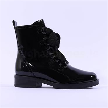 Gabor Thick Lace Military Boot Halkirk - Black Patent