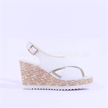 Gabor Cris Cross Wedge Sandal Warbler - White Leather