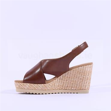 Gabor Cris Cross Wedge Sandal Warbler - Tan Leather