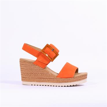 Gabor Square Buckle Wedge Sandal Wild - Orange