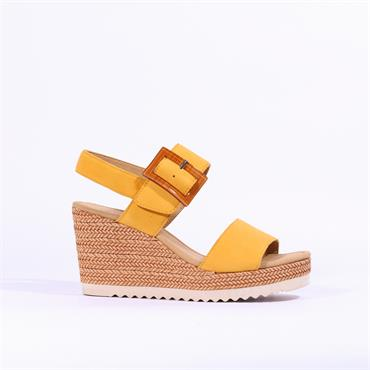 Gabor Square Buckle Wedge Sandal Wild - Yellow