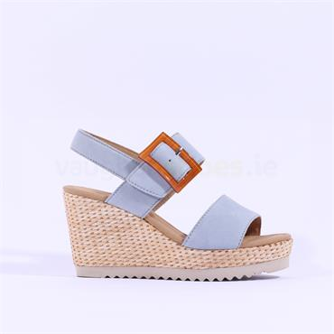 Gabor Square Buckle Wedge Sandal Wild - Baby Blue