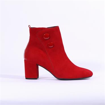 Gabor Venue Block Heel Boot Buttons - Red Suede