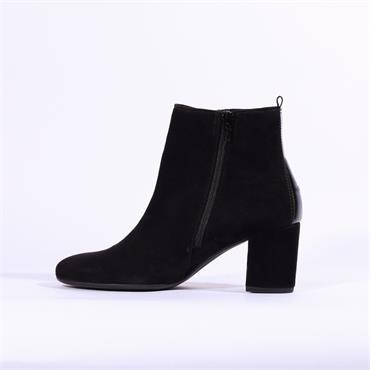 Gabor Venue Block Heel Boot Buttons - Black Suede