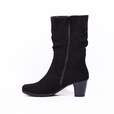 Gabor Mid Calf Block Heel Boot Adele - Black Suede