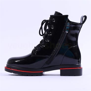 Mustang Diagonal Text Zip Lace Boot - Black Patent