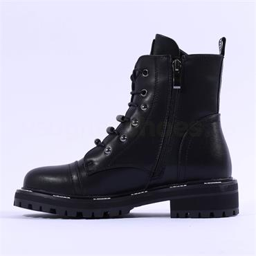 Mustang Laced Toe Cap Bead Ankle Boot - Black
