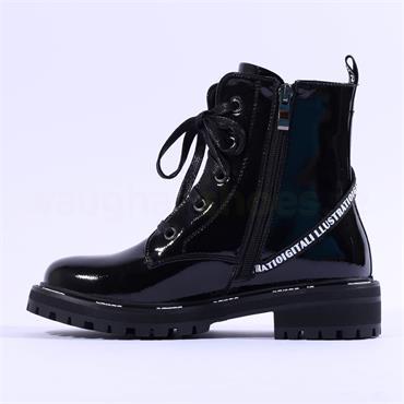Mustang Strap Diagonal Zip Lace Boot - Black Patent