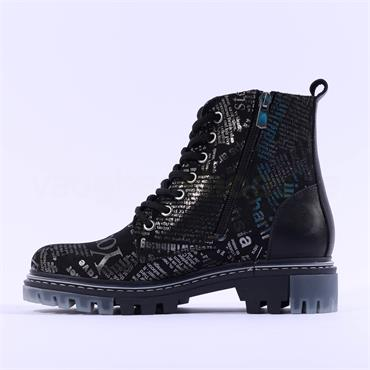 Mustang Newspaper Lace Military Boot - Black Silver