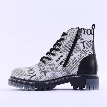 Mustang Newspaper Lace Military Boot - White Black