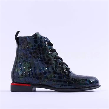 Mustang Low Square Heel Print Ankle Boot - Aqua Combi