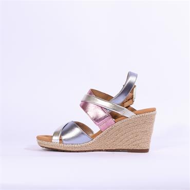 Gabor Karoo Espredrille Wedge Sandal - Pink Metallic Combi