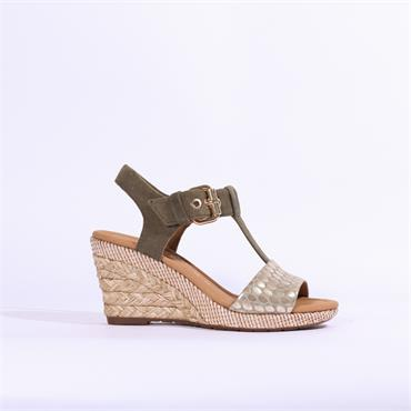 Gabor Espredrille Wedge Sandal Karen - Olive Combi