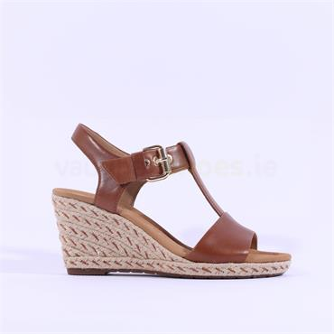Gabor Stitch Espadrille Wedge Karen - Tan Leather