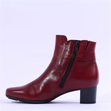Gabor Hemp Block Heel Buckle Boot - Red Leather