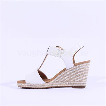 Gabor Stitch Espadrille Wedge Karen - White Leather