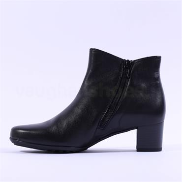 Gabor Block Heel Boot Strap Keegan - Black Leather