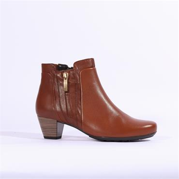Gabor Keepsake Low Heel Boot Side Zip - Cognac