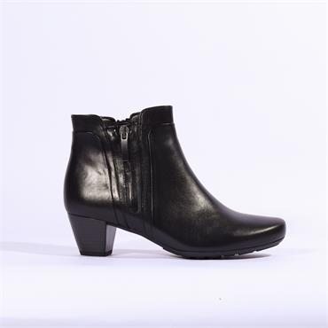 Gabor Keepsake Low Heel Boot Side Zip - Black