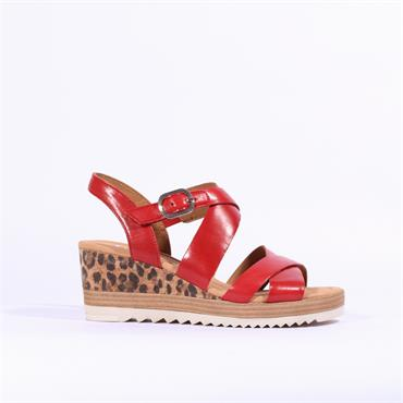 Gabor Leopard Wedge Strap Sandal Talbot - Red Leather