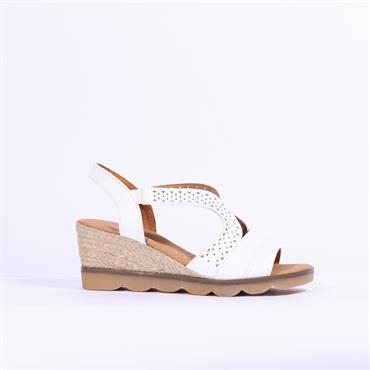 Gabor Wedge Sandal Spangle - White