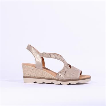 Gabor Wedge Sandal Spangle - Gold Shimmer