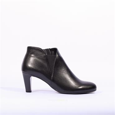 Gabor Mezza Shoe Boot With Side Zip - Black Leather