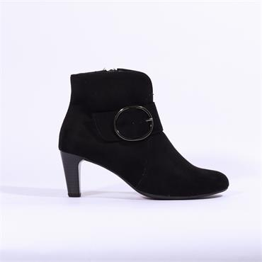 Gabor Fennel Ankle Boot Ring Buckle - Black Suede