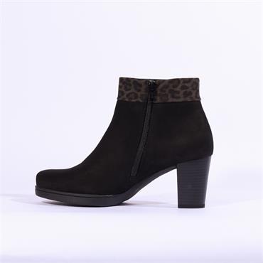 Gabor Wasper Block Heel Boot Print Cuff - Black Leopard