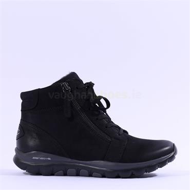 Gabor Rolling Soft Deputy Lace Zip Boot - Black Nubuck