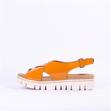 Gabor Patent Slingback Sandal Minto - Mustard