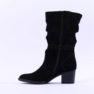 Gabor Ramona Mid Calf Block Heel Boot - Black Suede