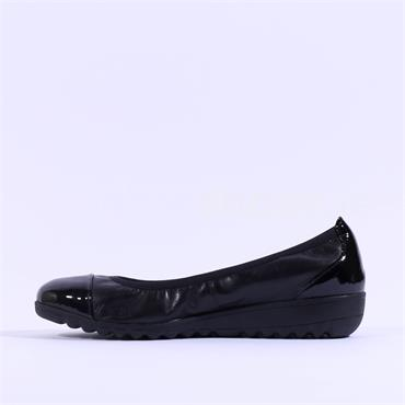 Caprice Toe Cap Slip On Low Wedge Faby - Black Leather