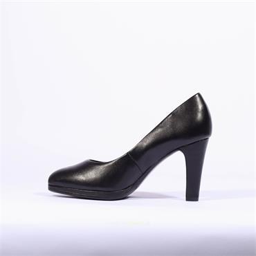 Caprice Isabella Platform Court Shoe - Black Leather