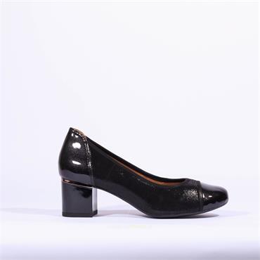 Caprice Block Heel Court Shoe Kordula - Black Patent Combi