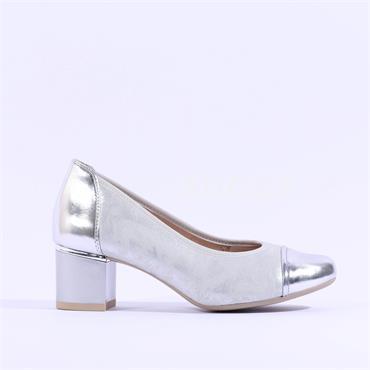 Caprice Block Heel Court Shoe Kordula - Silver Metallic