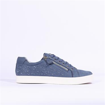 Caprice Ivy Casual Trainer Stud Detail - Blue Nubuck